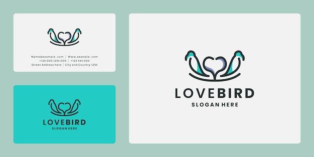 Love bird logo design line art, vettore di logo per la cura degli uccelli