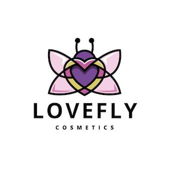 Logo colorato di amore farfalla