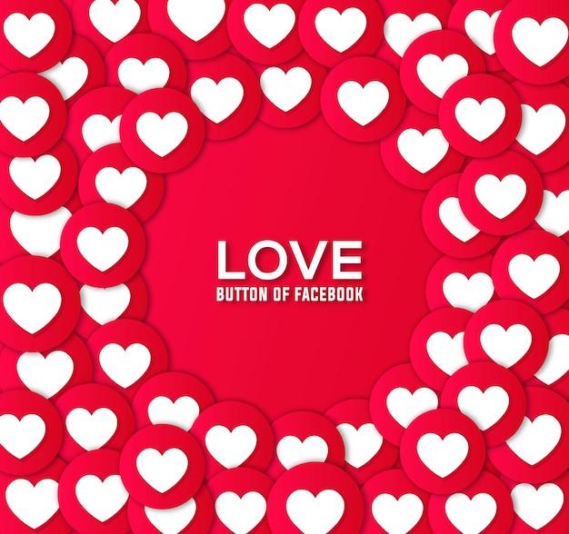 Pulsante d'amore di facebook e design di sfondo vettoriale