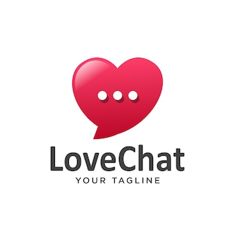 Love chat logo semplice pulito. Vettore Premium