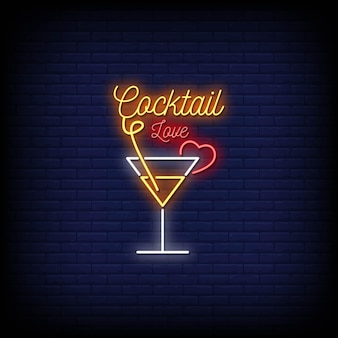 Love cocktail neon signs style text