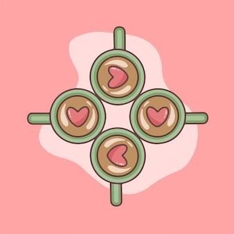 Amore caffè simbolo san valentino illustrazione vettoriale