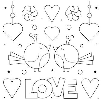 Amore. pagina da colorare. coppia di uccelli.
