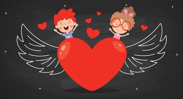 Concetto di amore con il personaggio dei cartoni animati