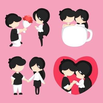 Pacchetto dell'illustrazione delle coppie di amore