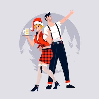 Celebrare le coppie di amore che baciano sotto il vischio durante le vacanze di natale