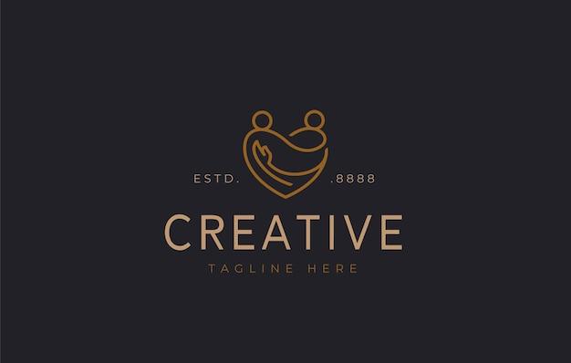 Design del logo delle coppie d'amore illustrazione vettoriale della consultazione delle relazioni d'amore