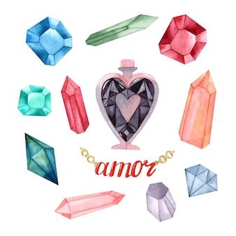 Insieme isolato di elementi dell'acquerello di cristalli di amore