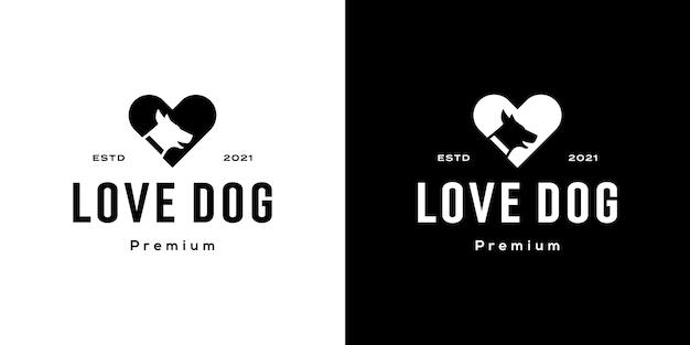 Modello di disegno vettoriale logo cane amore dog