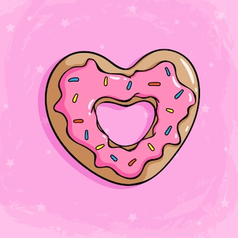 Ciambella d'amore con crema di fragole per topping ciambella carina con stile doodle colorato