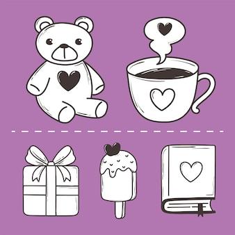 Love doodle icon set orso tazza di caffè gelato regalo libro decorazione illustrazione