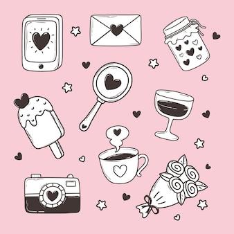 Amore doodle icon set smartphone mail fotocamera gelato specchio fiori illustrazione