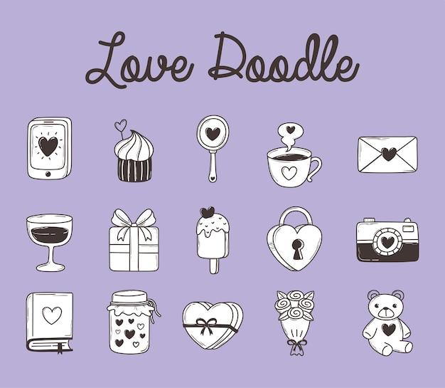 Amore doodle smartphone cupcake regalo lucchetto orso fotocamera gelato e più illustrazione di raccolta di icone