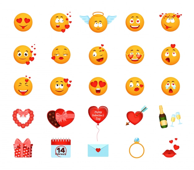 Ami l'emoji con l'illustrazione dei cuori, l'emoticon del fronte giallo del fumetto fa le emozioni amorose, raccolta di san valentino