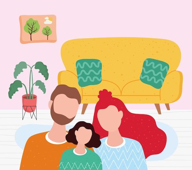 Ami i personaggi dei membri della famiglia insieme nell'illustrazione del soggiorno