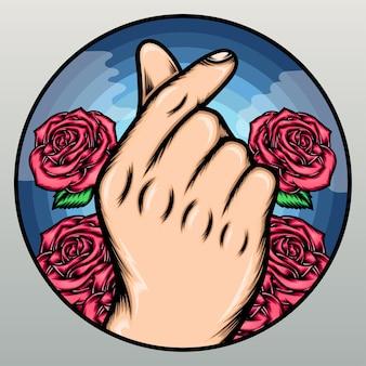 Dito di amore con rose rosa.