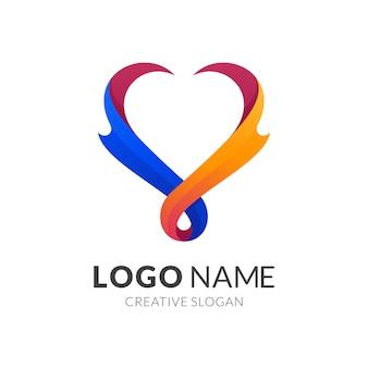 Concetto di logo di amore e fuoco, stile logo moderno in colori vivaci sfumati