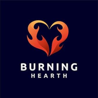 Logo del fuoco d'amore con concetto di colore sfumato
