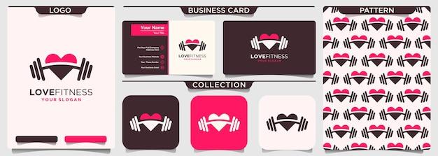 Modello di progettazione di logo fitness amore. elemento manubrio combinato amore.