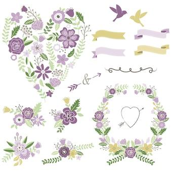 Amore a forma di cuore disposizione floreale