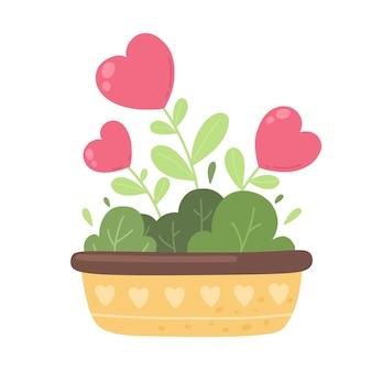 Amore fiori cuore rosso albero che cresce in un vaso san valentino design illustrazione vettoriale