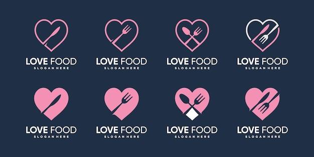 Amo la collezione di logo di cibo con stile elemento creativo vettore premium