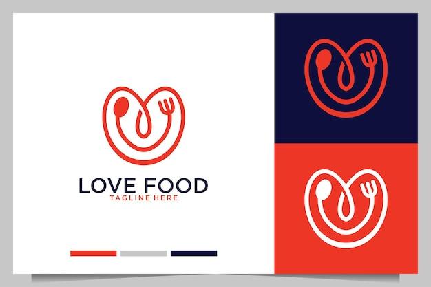 Adoro il cibo con il design del logo di forchetta e cucchiaio