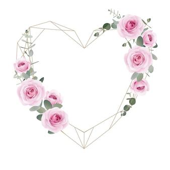 Amore cornice sfondo rose floreali e foglie di eucalipto