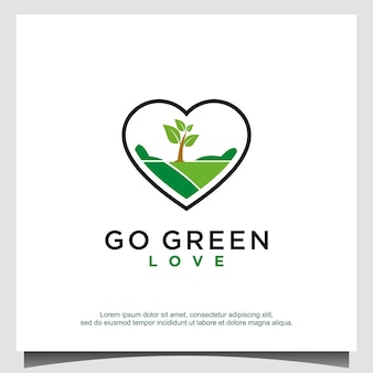 Love go green logo design vector