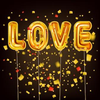 Amo il testo realistico dei palloncini lucidi metallici dell'elio dell'oro, coriandoli della stagnola di scoppio. disegno di sfondo felice giorno di san valentino
