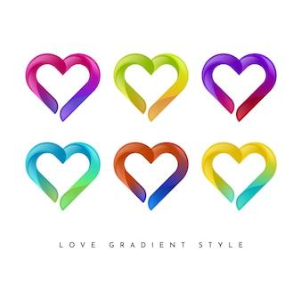 Set di stile gradiente amore