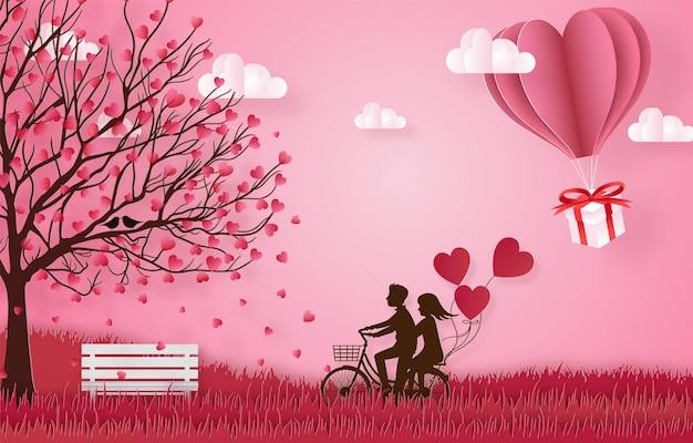 Amore e felice banner di san valentino, stile di arte della carta