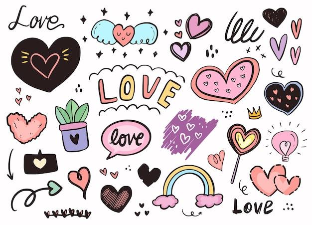 Amore cuore girly moda adesivo disegno di assieme.