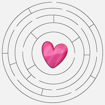 Amore cuore labirinto o labirinto illustrazione vettoriale di san valentino