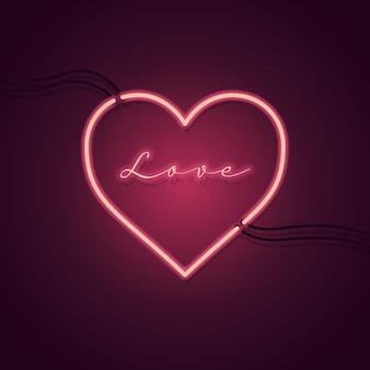 Segno al neon di amore e cuore. Vettore Premium