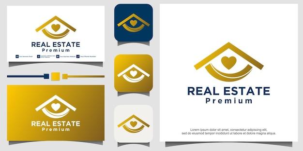 Design del logo immobiliare del cuore d'amore