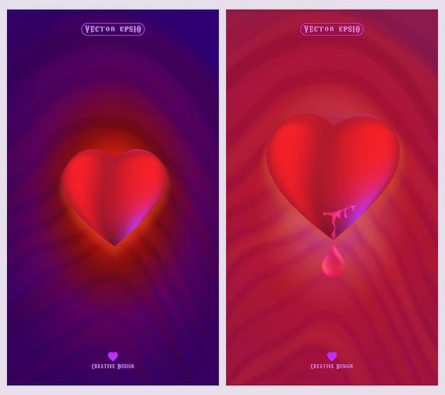 Simboli di amore e cuore con sfondi rosa e viola
