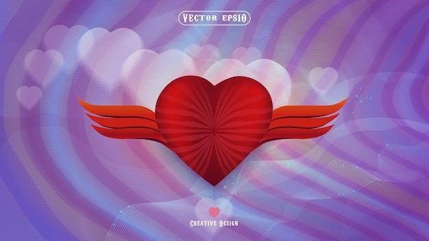 Simboli di amore e cuore con sfondi viola