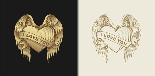 Amore cuore con ali e nastri, illustrazione disegnata a mano con temi esoterici, boho, spirituali, geometrici, magici, per san valentino o amanti innamorati