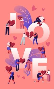 Concetto di amore e crepacuore. coppie felici il tempo libero, tenendo il cuore. cartoon illustrazione piatta