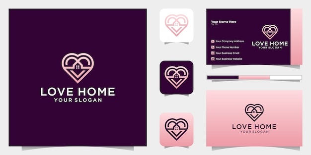 Love home logo cuore e combinazione di icone di casa e biglietto da visita