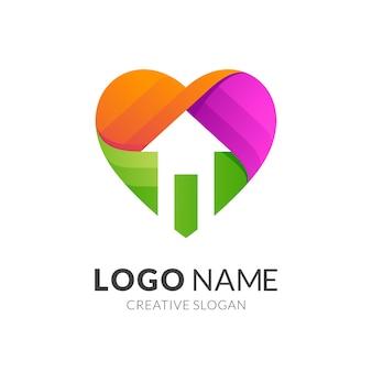 Concetto di logo di amore e casa, stile logo moderno in colori vivaci sfumati