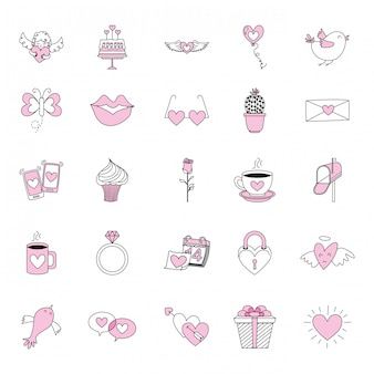Set di icone di amore