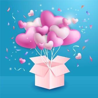 Illustrazione d'amore con palloncino carino Vettore Premium
