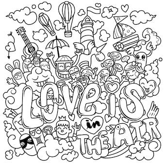 L'amore è nell'aria. disegnato a mano, illustrazione del fumetto di scarabocchio