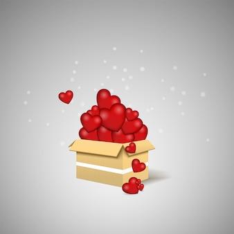 L'amore è nell'aria. scatola dell'amore. illustrazione della scatola a sorpresa.