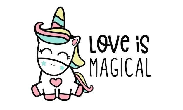 L'amore è magico, unicorno. Vettore Premium