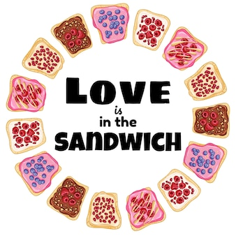 L'amore è nella corona di sandwich. panino di pane tostato con poster sano di frutti di bosco. colazione o pranzo vegano. illustrazione di stock di cibo vegetariano
