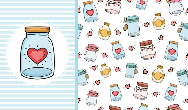 Amore jar seamless pattern texture di sfondo design.