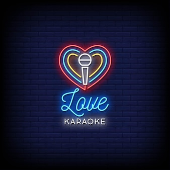 Love karaoke neon signs style text
